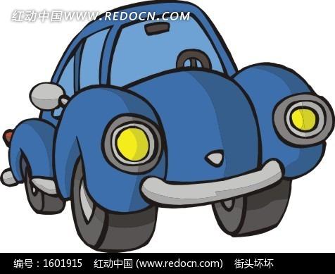 手绘蓝色汽车图片