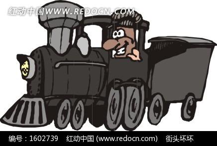 一部黑色火车头矢量图