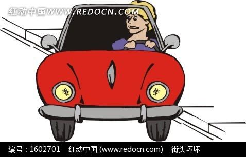 坐在红色小汽车的女人矢量图高清图片