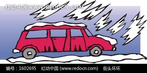 大雪 雪地 红色越野车 卡通画 插画 手绘 矢量素材 交通工具 科技图片