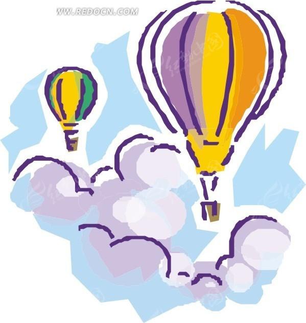 手绘云朵中的热气球矢量图
