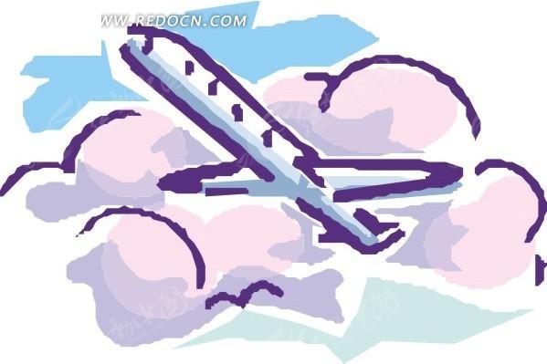 飞机 交通工具 卡通画