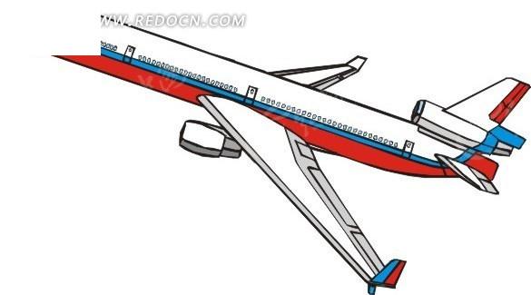 儿童手绘民航飞机_交通工具