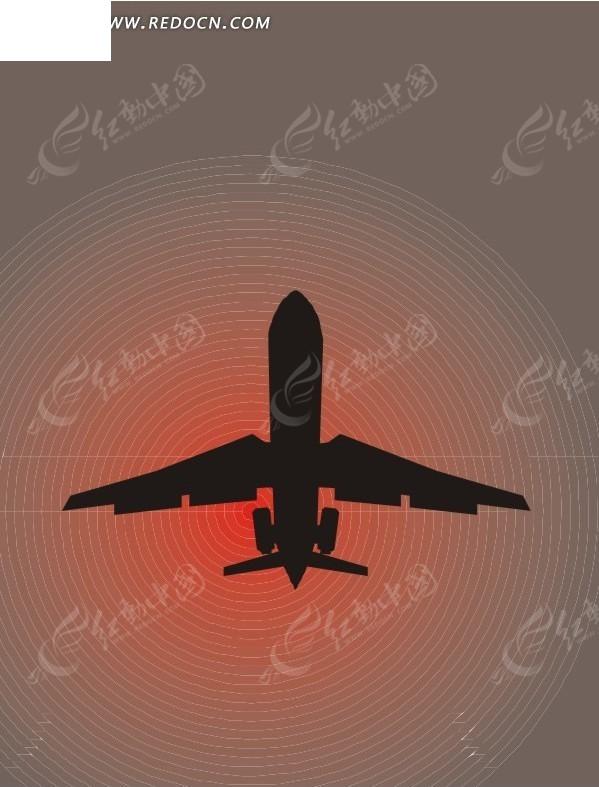 空中的飞机 红儿渐变背景