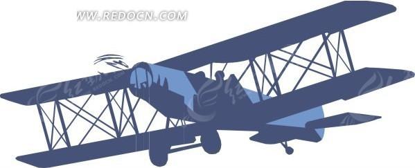 蓝色双翼飞机-交通工具矢量图下载(编号:1603195)