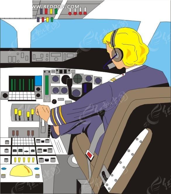 飞机驾驶员矢量图_交通工具