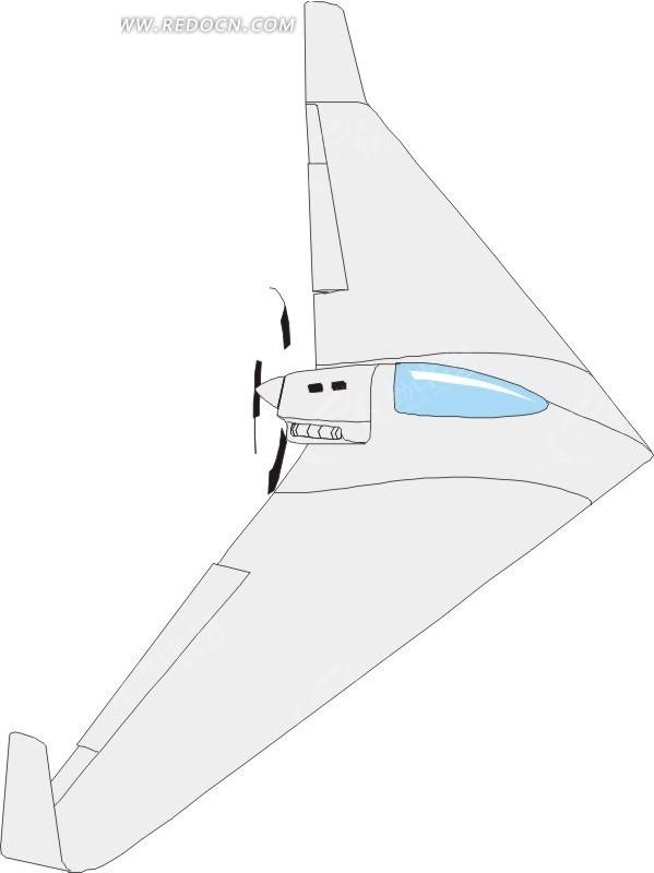 手绘美国隐形飞机矢量素材矢量图