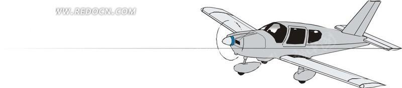 手绘单翼螺旋飞机矢量素材