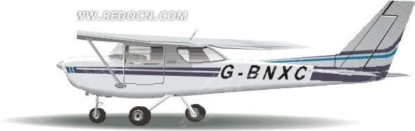 手绘单翼的飞机矢量素材