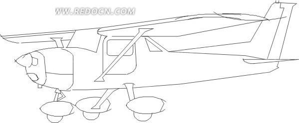黑色手绘线描飞机图案素材
