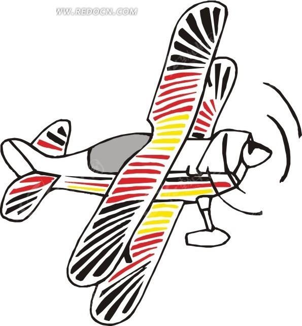 手绘彩色双翼螺旋飞机