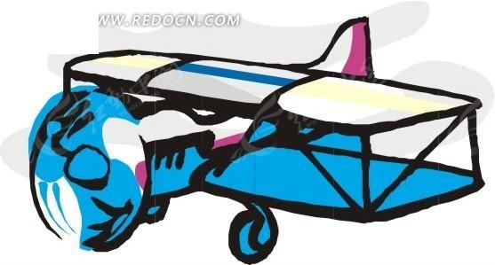 彩色 螺旋飞机 双翼 飞机 卡通画 插画 手绘 矢量素材  交通工具 科技