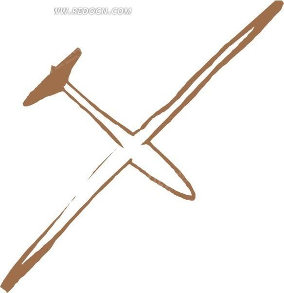 手绘飞机矢量图_交通工具