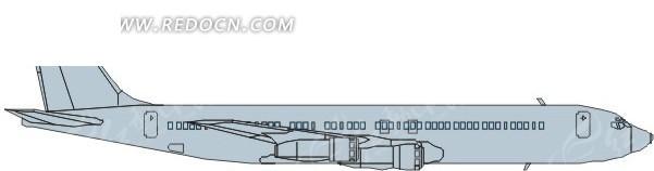 手绘线条流畅的蓝色飞机侧面