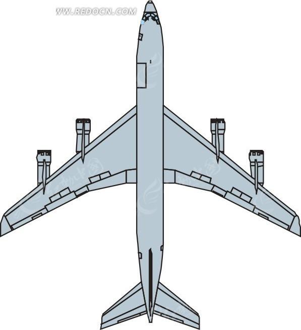 一部浅蓝色民航飞机矢量图