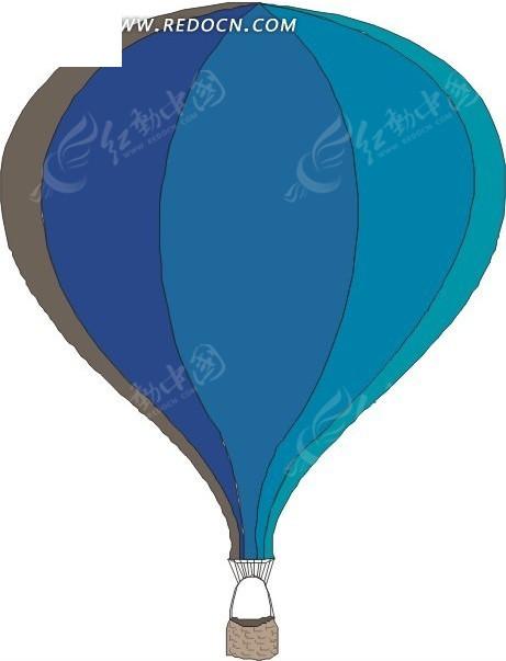 卡通蓝色热气球