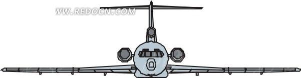 手绘淡蓝色机身的飞机正面