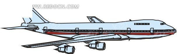手绘青色和红色机身的飞机右侧面