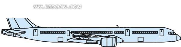 手绘青色机身的飞机侧面