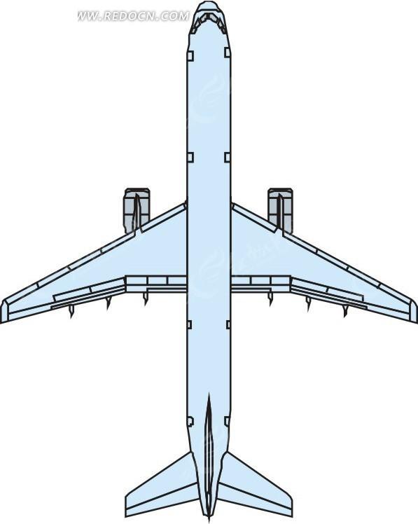 手绘青色机身的飞机俯视图