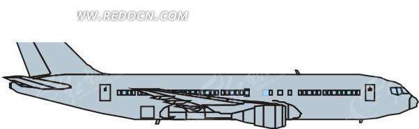 手绘线条流畅的淡蓝色飞机侧面