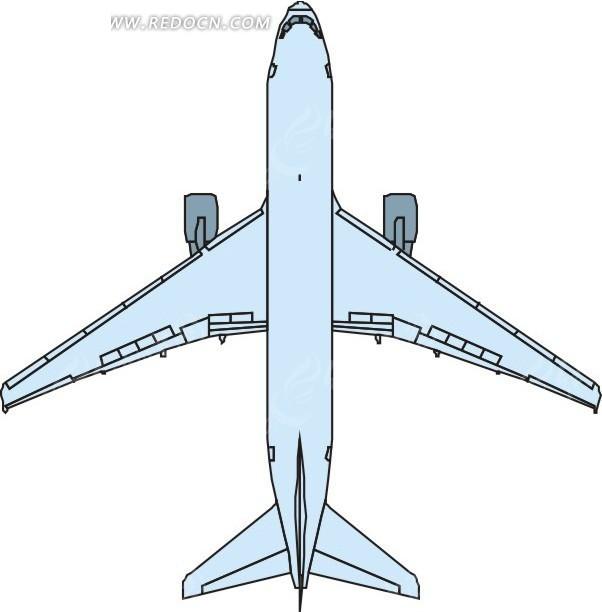 青色飞机底部 卡通画 插画