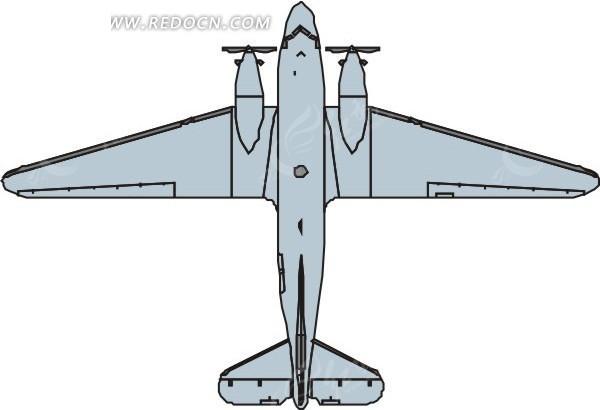 手绘淡蓝色飞机俯视图