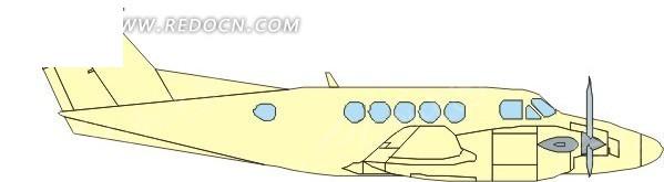 手绘黄色机身的飞机侧面