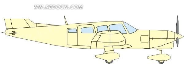 手绘淡黄色机身的飞机侧面