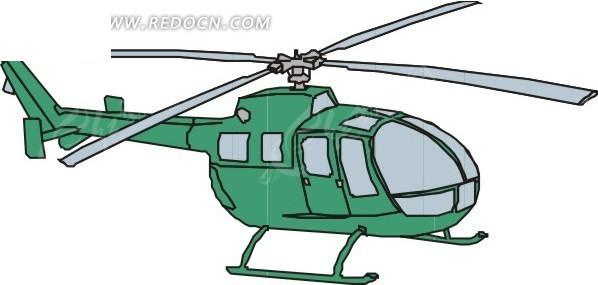 一架绿色的直升飞机手绘素材EPS免费下载 编号1605669 红动网