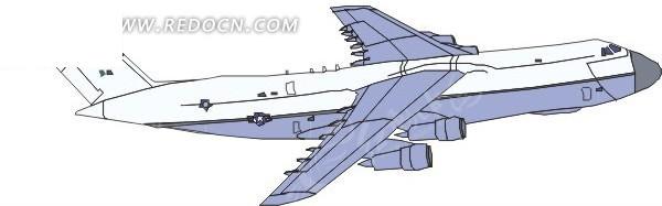 手绘白色顶部蓝色机翼的飞机侧面