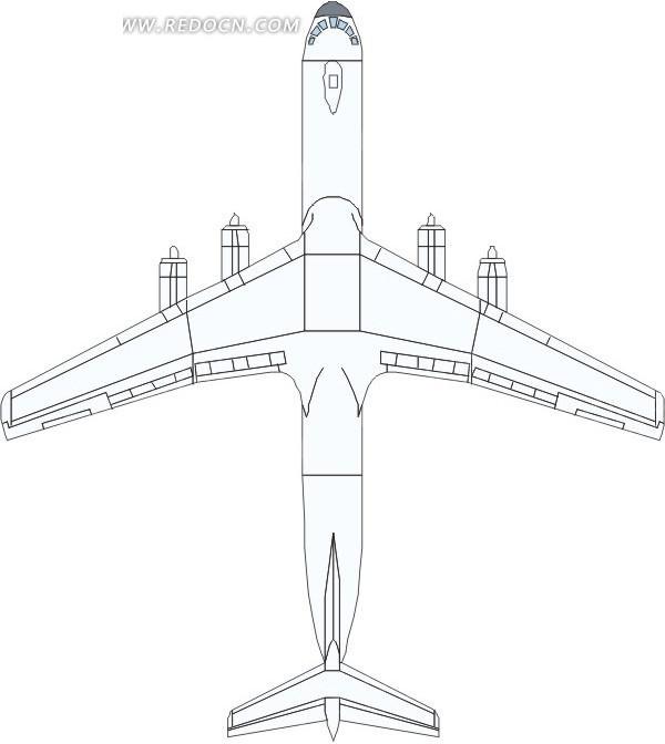 手绘白色飞机俯视图