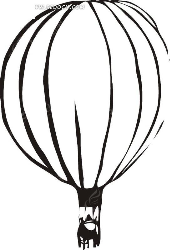 线描黑白热气球