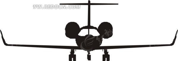 滑行的飞机剪影图片