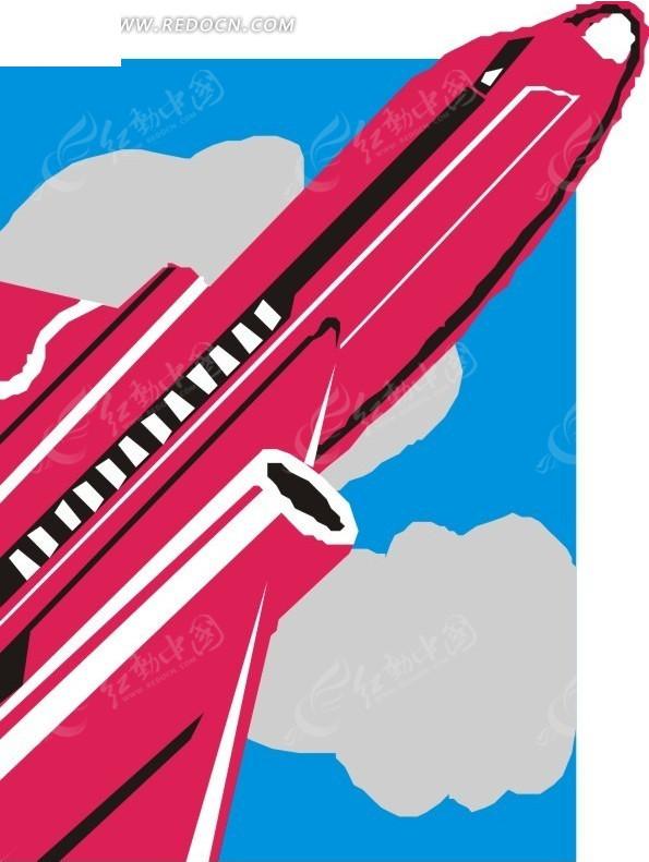 手绘蓝天和红色飞机矢量图