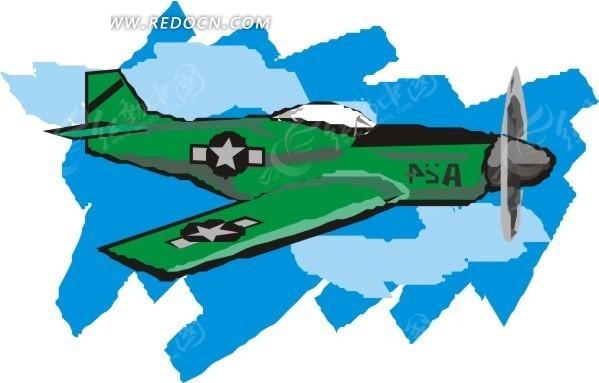 手绘绿色飞机