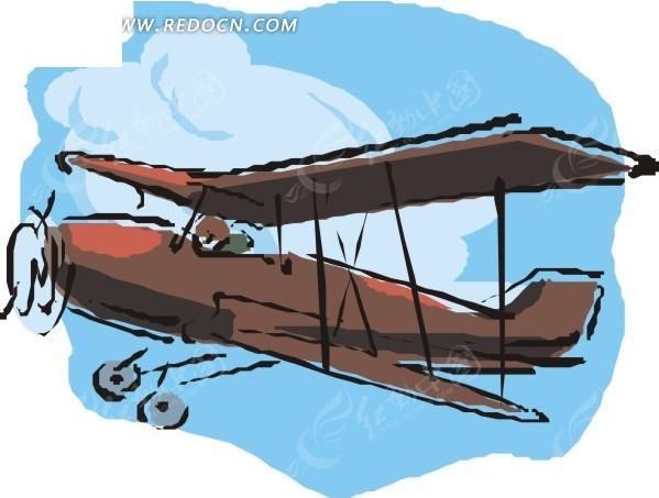 手绘棕色老式飞机