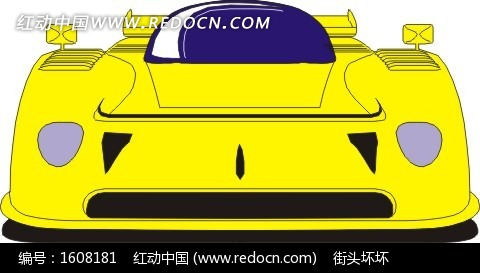 手绘黄色汽车车头