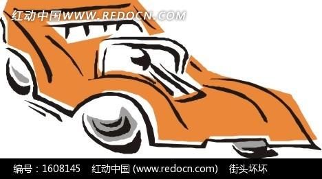 手绘橙色赛车右侧面
