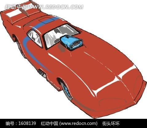 手绘红色赛车右侧面