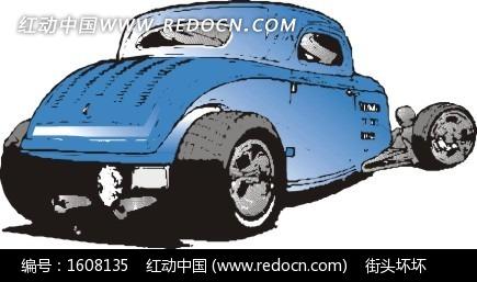 手绘汽车—正在换胎的蓝色汽车