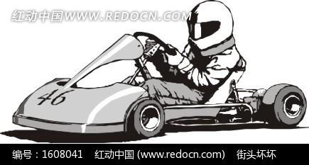 手绘开着46号灰色赛车的赛车手图片
