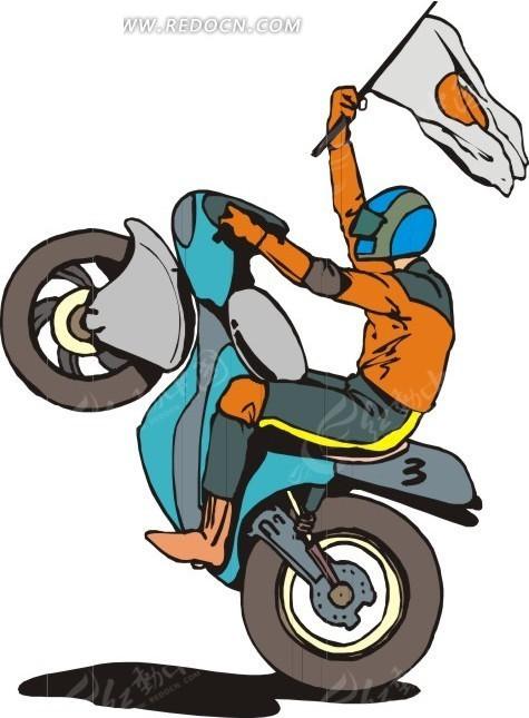 单手骑摩托车举旗插画