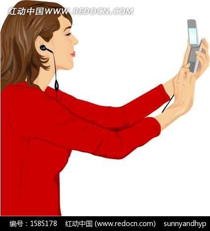 拿着手机的卡通人物