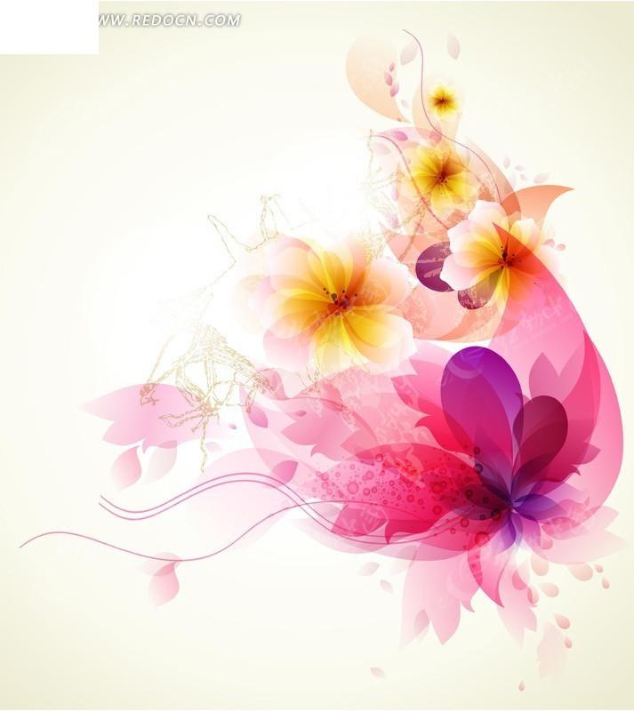 免费素材 矢量素材 花纹边框 底纹背景 潮流炫彩透明荧光花卉背景矢量