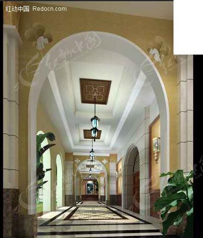圆拱门过道设计3d效果图