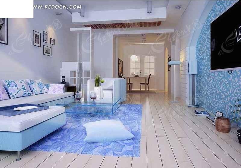 创意水蓝色系列客厅装修设计效果图