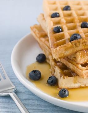 白色盘子里的优格和蓝莓