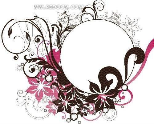 精美花纹装饰的圆形矢量图