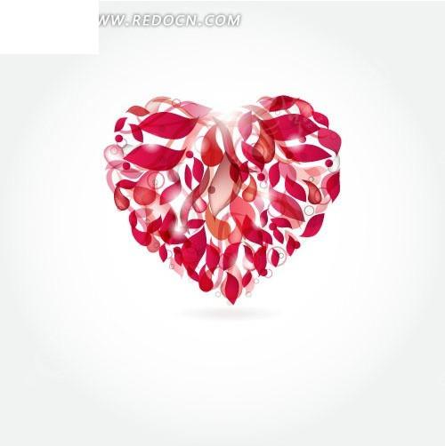 免费素材 矢量素材 花纹边框 底纹背景 花瓣组成的心形图案